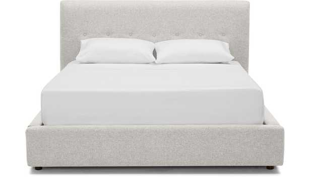 White Alvin Mid Century Modern Storage Bed - Tussah Snow - Mocha - Eastern King - Joybird