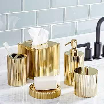 Fluted Metal Bath Accessories, Polished Brass, Set of 5 - West Elm
