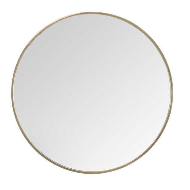 """Madeleine Home Vasto Gold Scandinavian Handcrafted Wall Mirror - Round (24"""") - Home Depot"""