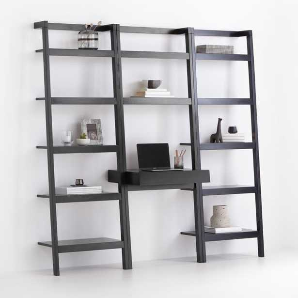 Sawyer Black Leaning Desk with Two 24.5'' Bookcases - Crate and Barrel