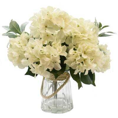 Hydrangea Floral Arrangement and Centerpiece in Vase - Birch Lane