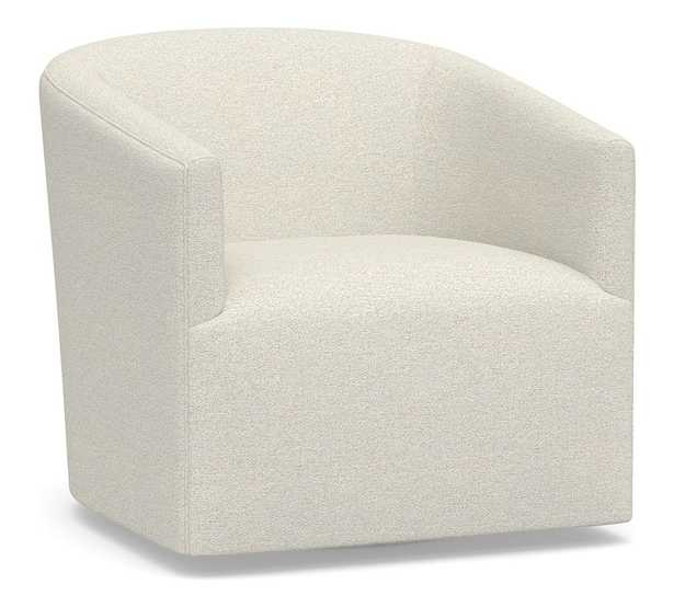 Baldwin Upholstered Swivel Armchair, Polyester Wrapped Cushions, Performance Boucle Oatmeal - Pottery Barn