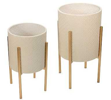 Leah White Patterned Raised Planters with Gold Stand, Set of 2 - Pottery Barn