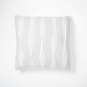 Pintuck Stripe Duvet, Euro Sham, White - West Elm