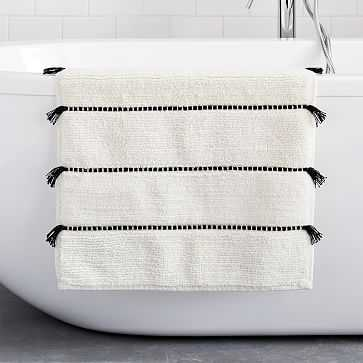 "Organic Tassel Stripe Bath Mat, 20""x34"", Stone White - West Elm"