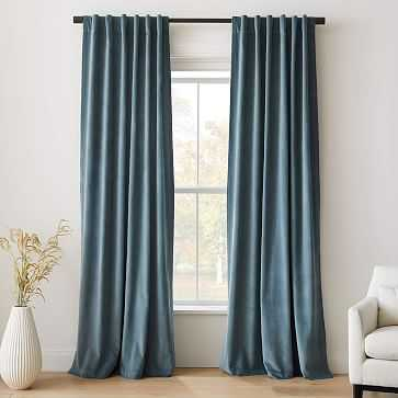 "Cotton Velvet Curtain, Ocean, 48""x96"" - West Elm"