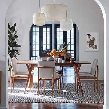 """Mid-Century 39""""-55"""" Expandable Dining Table & 4 Framework Upholstered Dining Chairs Set - West Elm"""