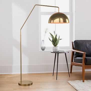 """Sculptural Overarching Floor Lamp, Metal Medium, Brass, Antique Brass, 12"""" - West Elm"""