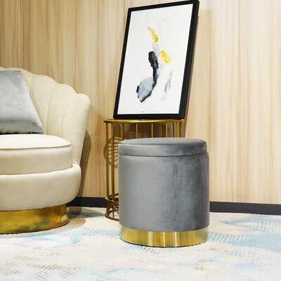 Round Velvet Ottoman Footstool With Storage,Black - Wayfair