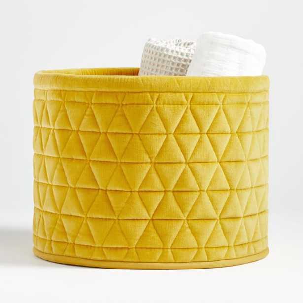 Yellow Velvet Storage Bin - Crate and Barrel