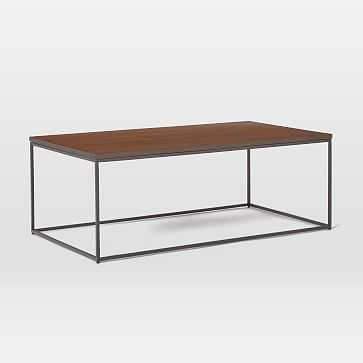 "Streamline Coffee Table, 44""x24"", Dark Walnut, Antique Bronze - West Elm"