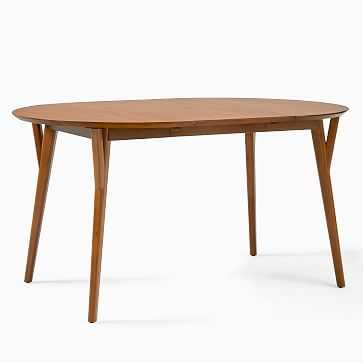 """Mid-Century Dining Table, 60"""" - 80"""" Oval Expandable, Walnut - West Elm"""