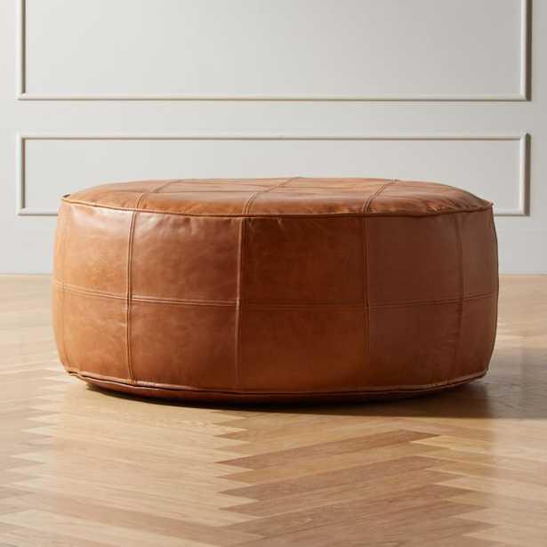 Round Saddle Leather Pouf-Ottoman - CB2