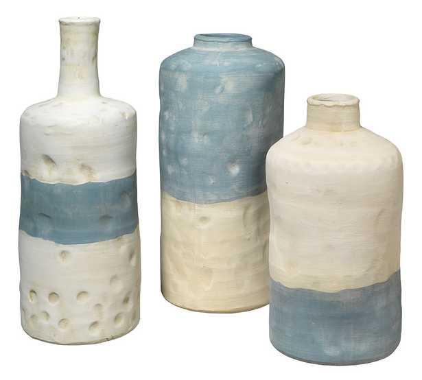 Mallory Blue/White Ceramic Vessels, Set of 3 - Pottery Barn