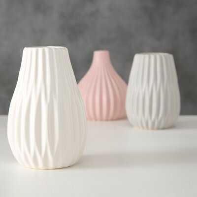 3 Piece Spaulding Pink/Rose/Mauve Stoneware Table Vase Set - Wayfair