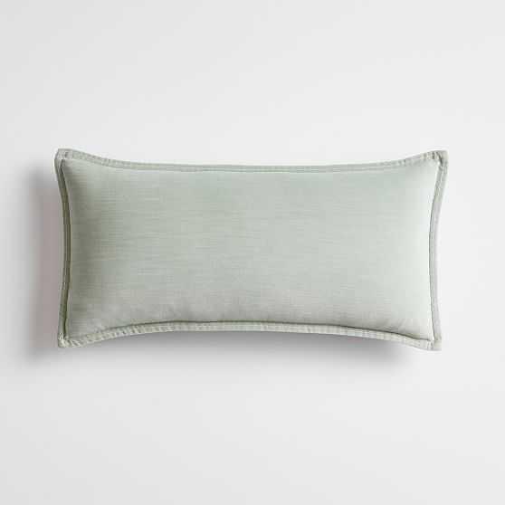 Washed Cotton Velvet Pillow 12X24, Lumbar, Mist - West Elm