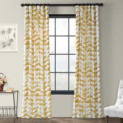 Fey Printed 100% Cotton Geometric Room Darkening Rod Pocket Single Curtain Panel - AllModern