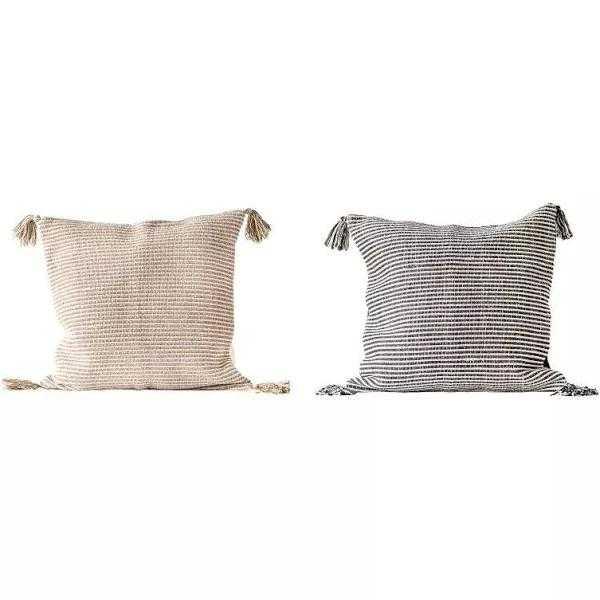 "Stafford Striped Pillows, Neutrals, 24"" x 24"", Set of 2 - Cove Goods"