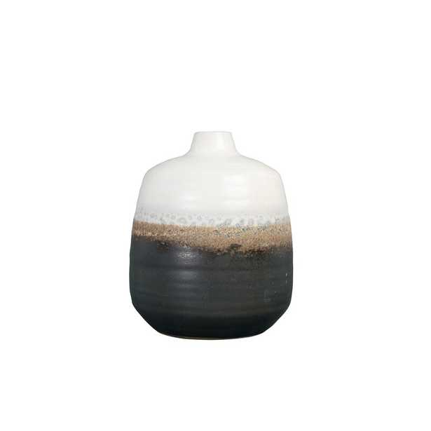 """Bloomingville Small Black & White Ceramic Vase with Brown Reactive Glaze Accent Size: 7.5"""" H x 6.25"""" W x 6.25"""" D - Perigold"""