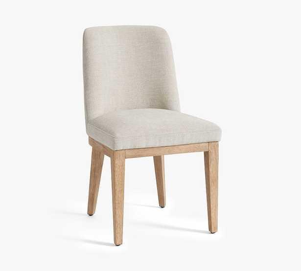 Layton Upholstered Dining Side Chair, Seadrift Leg, Performance Heathered Tweed Ivory - Pottery Barn