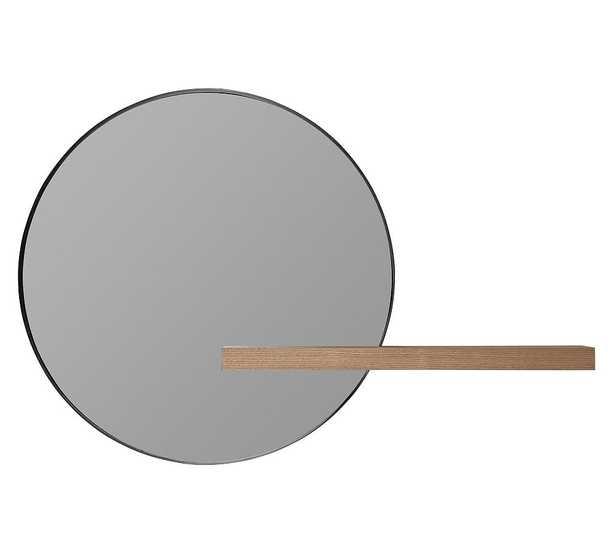 "Norah Wall Round Wall Mirror With Wood Shelf, 25.75"" - Pottery Barn"