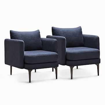 Auburn Chair, Poly, Twill, Black Indigo, Dark Mineral, Set of 2 - West Elm
