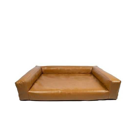 Blvd Dog Bed, Savannah Saddle Leather, Large - West Elm