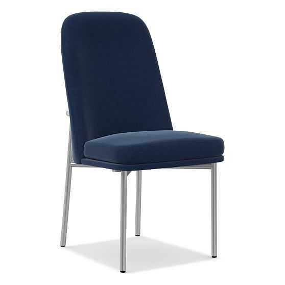 Jack Metal Frame High Back Dining Chair, Performance Velvet, Ink Blue, Chrome - West Elm