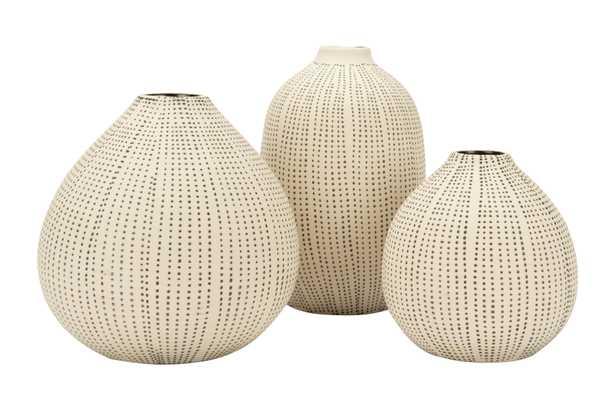 White Stoneware Vases with Textured Black Polka Dots (Set of 3 Sizes) - Nomad Home