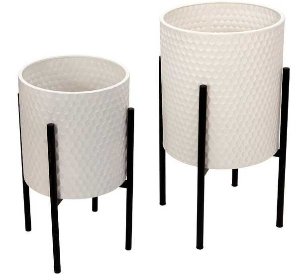 Bella White Patterned Raised Planters with Black Stand, Set of 2 - Pottery Barn