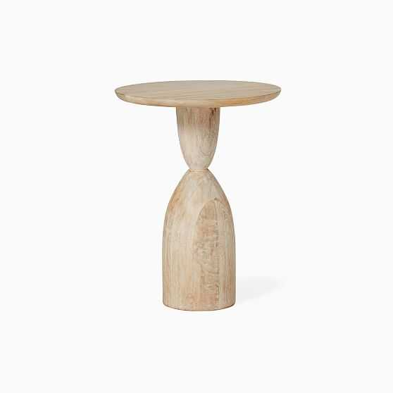 Winona Collection Cerused White Round Pedestal Side Table - West Elm