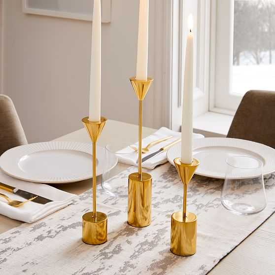 Hammond Candlelight, Taper Holder, Polished Brass, Set of 3 - West Elm