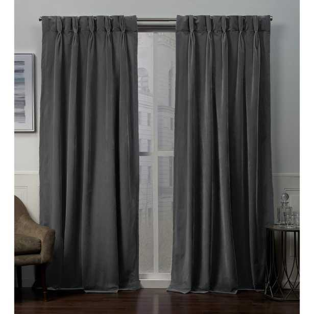 Exclusive Home Curtains Velvet Heavyweight Pinch Pleat Top Curtain Panel Pair in Soft Grey - 27 in. W x 84 in. L (2-Panel) - Home Depot