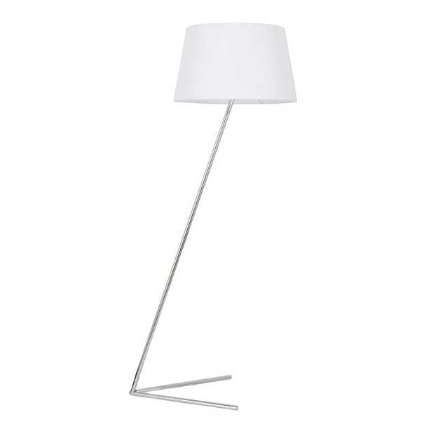 ELEGANT FURNITURE & LIGH Timeless Home 52.6 in. H 1-Light Metal Indoor Floor Lamp in Chrome and White shade - Home Depot