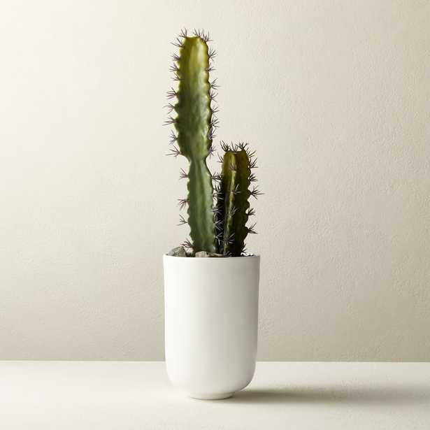 "Faux Cactus In White Pot 22"" - CB2"