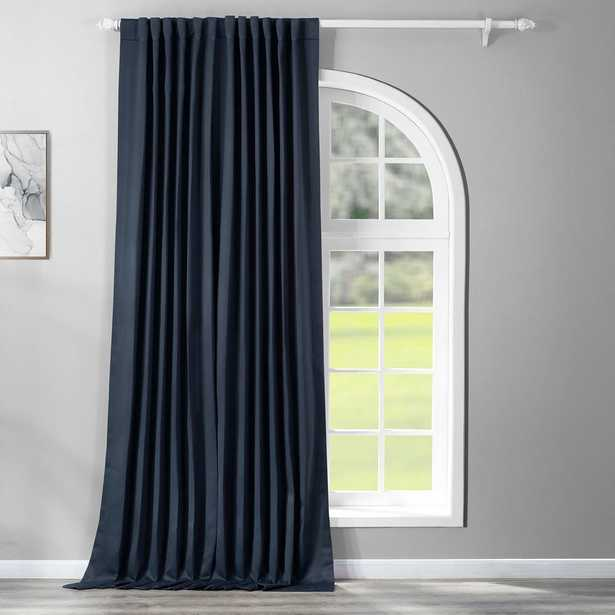 Exclusive Fabrics & Furnishings Semi-Opaque Navy Blue Doublewide Blackout Curtain - 100 in. W x 96 in. L (1 Panel) - Home Depot