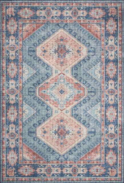 "Skye SKY-03 Turquoise / Terracotta 7'-6"" x 9'-6"" - Loma Threads"