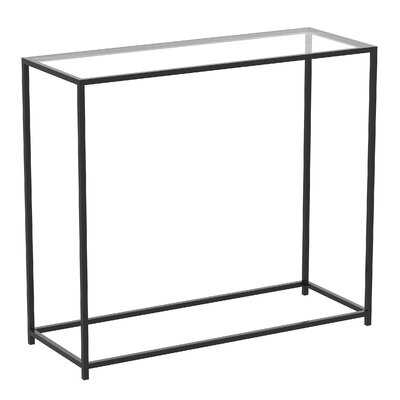 Console Table 31L Glass Black Metal - Wayfair