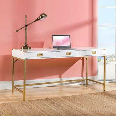 Baldweyn Office Writing Desk With Gold Metal Frame - Wayfair