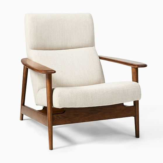 Midcentury Show Wood Highback Chair, Basket Slub, Dove, Dark Walnut - West Elm