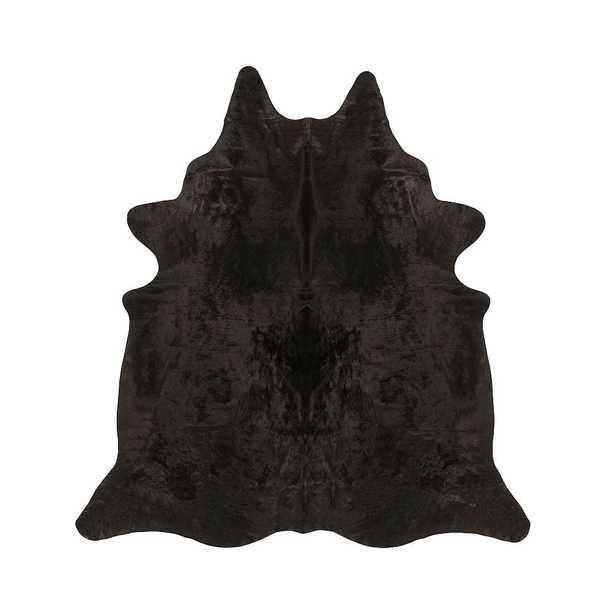 Solid Black Cow Hide Rug, Black, 5' x 7' - Pottery Barn Teen