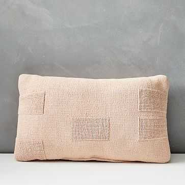 """Outdoor Tufted Pillow, 12""""x21"""", Pink Stone - West Elm"""