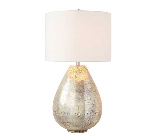 """Mila Antique Mercury Table Lamp with Large Gallery Straight Sided Shade, 26"""", White - Pottery Barn"""