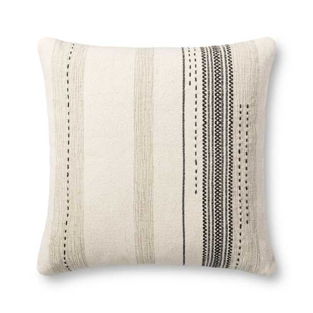 """PILLOWS P1150 NATURAL / BLACK 22"""" x 22"""" Cover w/Poly - Magnolia Home by Joana Gaines Crafted by Loloi Rugs"""