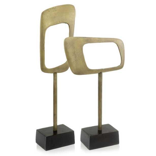OCEANTAILER DBA HOMEROOT Rosemary Irregular Shape Metal Metal, Object - Horizontal Sculpture, Antique Gold/Bronze - Home Depot