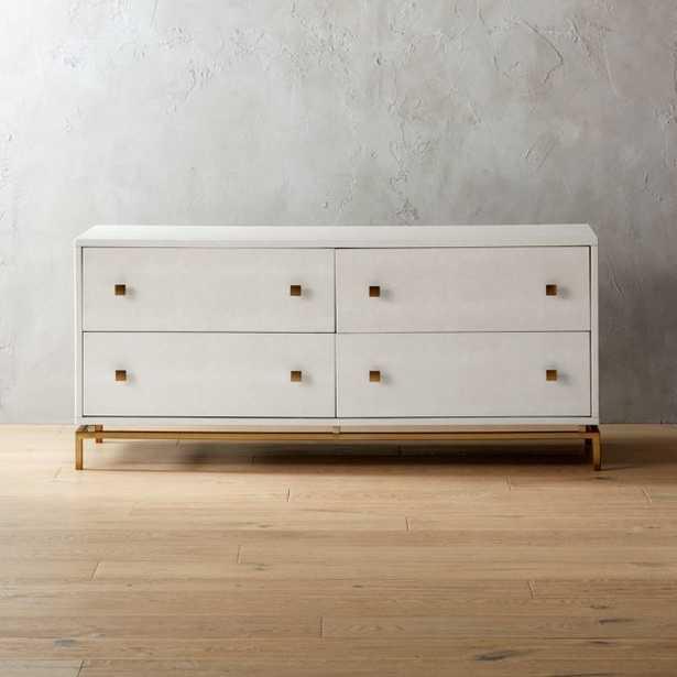 Ivory Shagreen Embossed Low Dresser - CB2