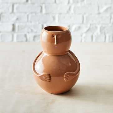Claymen Vase, Man, Yellow, Stoneware, One Size - West Elm