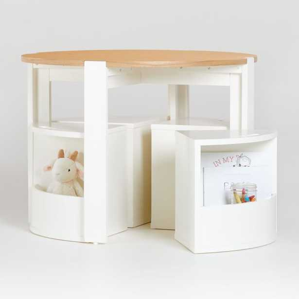 Nesting White and Natural Play Table, Chairs, and Acrylic Mat Set - Crate and Barrel