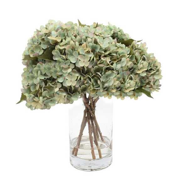 White, Blue And Green Hydrangea Bouquet Flower/Leaves Color: Aqua - Perigold