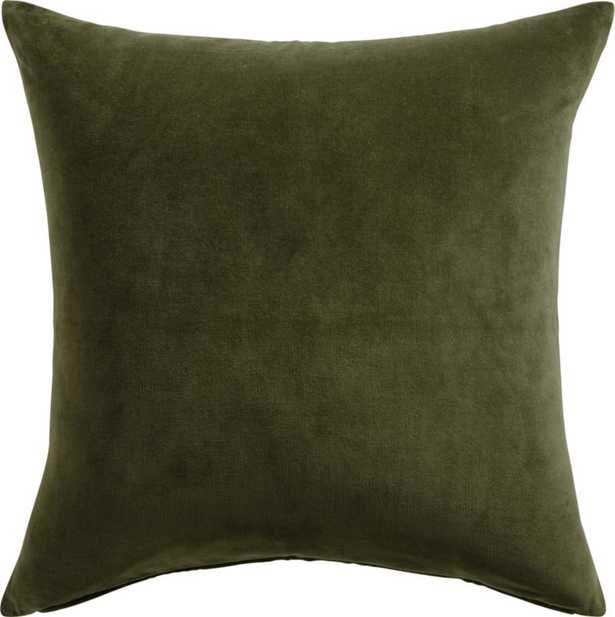 """Leisure Pillow with Feather-Down Insert, Olive Green, 23"""" x 23"""" - CB2"""